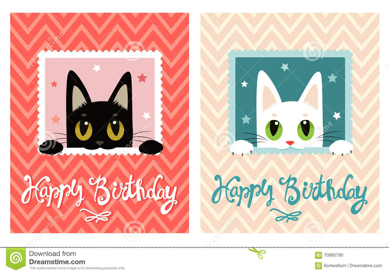 Happy Birthday Card With Cute Cat Greeting