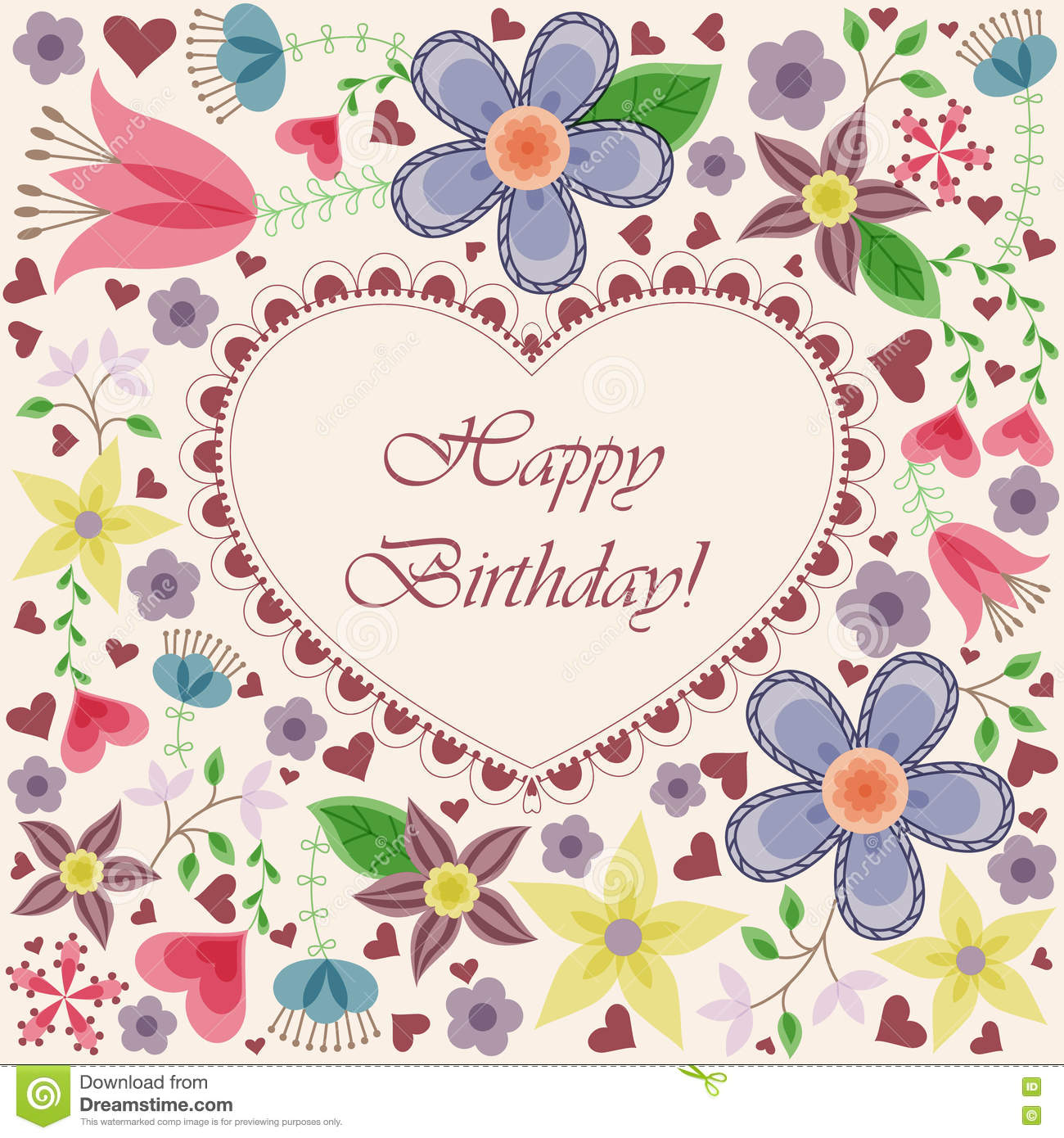 happy birthday card with heart flowers - Happy Birthday Cards Flowers