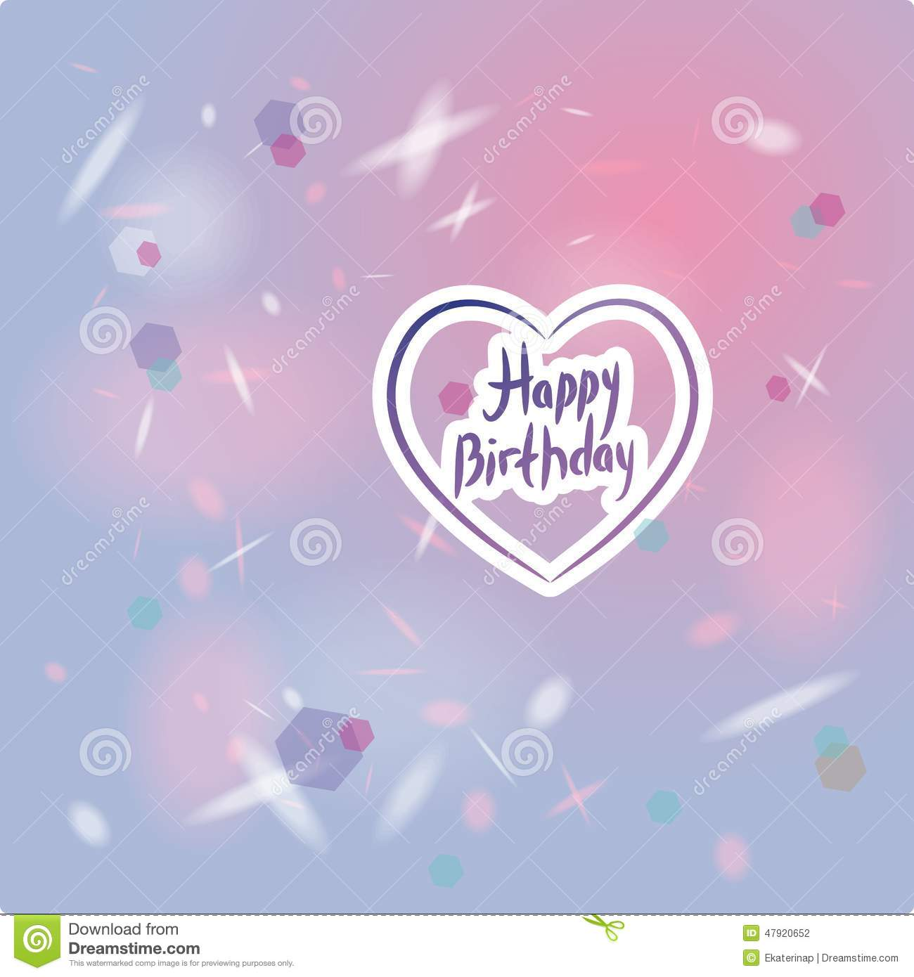 Happy Birthday Love Purple ~ Happy birthday card heart pink and purple stock vector image