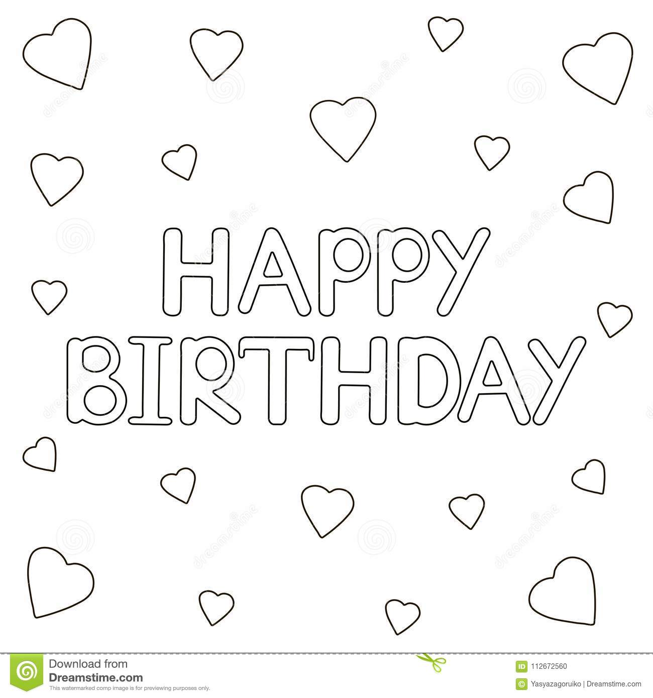 Happy Birthday Card With Hearts. Coloring Page. Stock
