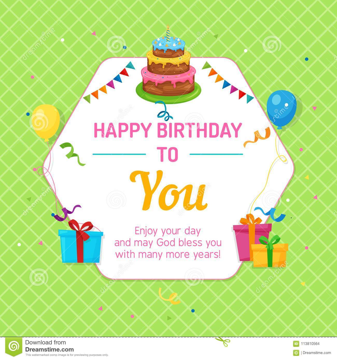 Happy Birthday Card Hexagonal Frame With Cake Balloon And Gift Box
