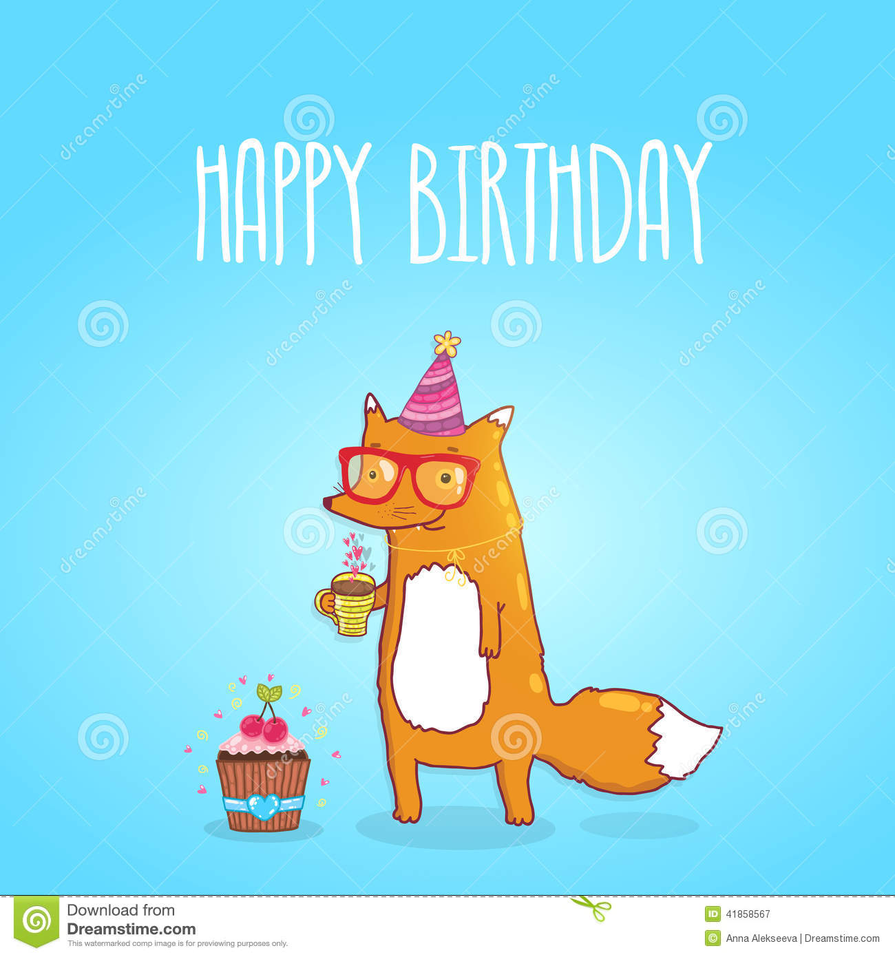 Happy Birthday Card With Hipster Fox Vector Image 41858567 – Hipster Birthday Cards