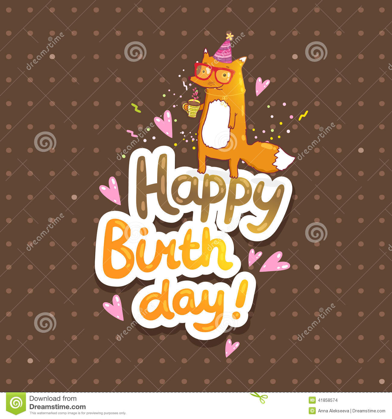 Happy Birthday card background with cute cartoon hipster fox. Vector ...