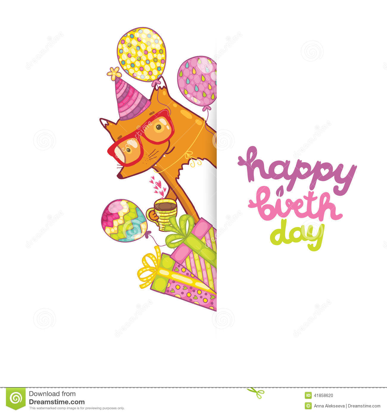 Happy Birthday Card With Hipster Fox Vector Image 41858620 – Hipster Birthday Cards