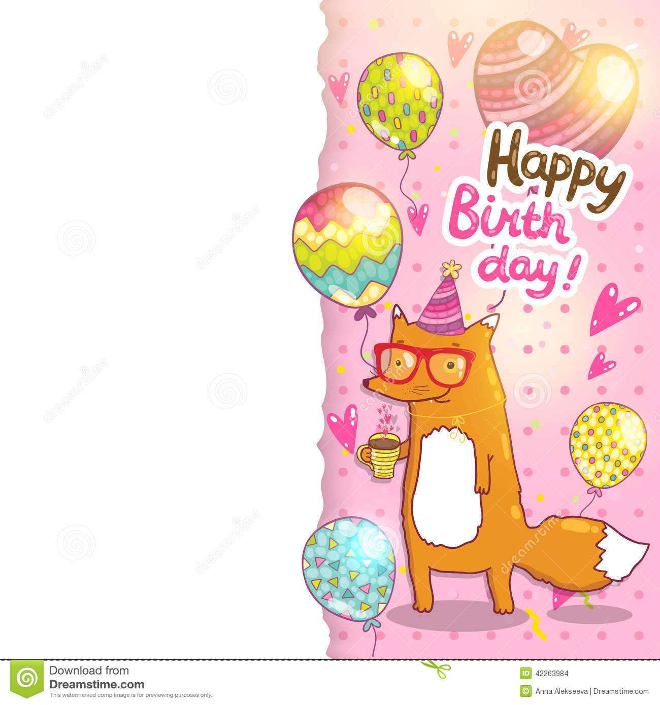 Birthday card background with cute cartoon hipster fox. Vector holiday ...