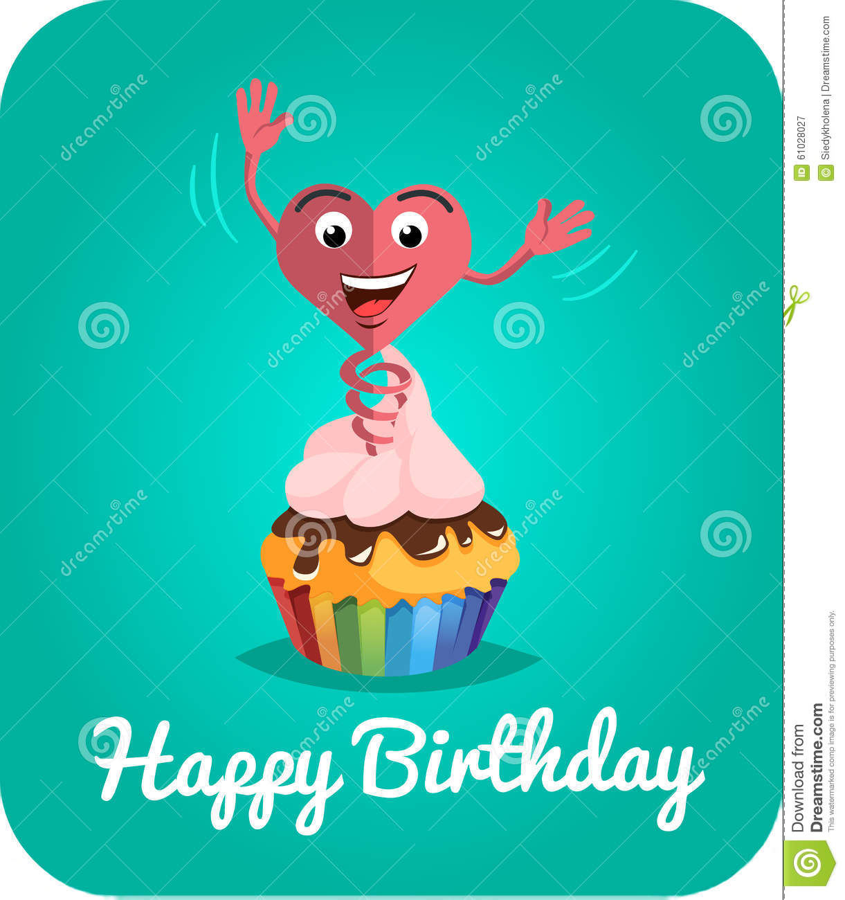 Happy Birthday Card Jumps Out Of Cake 2 Stock Illustration