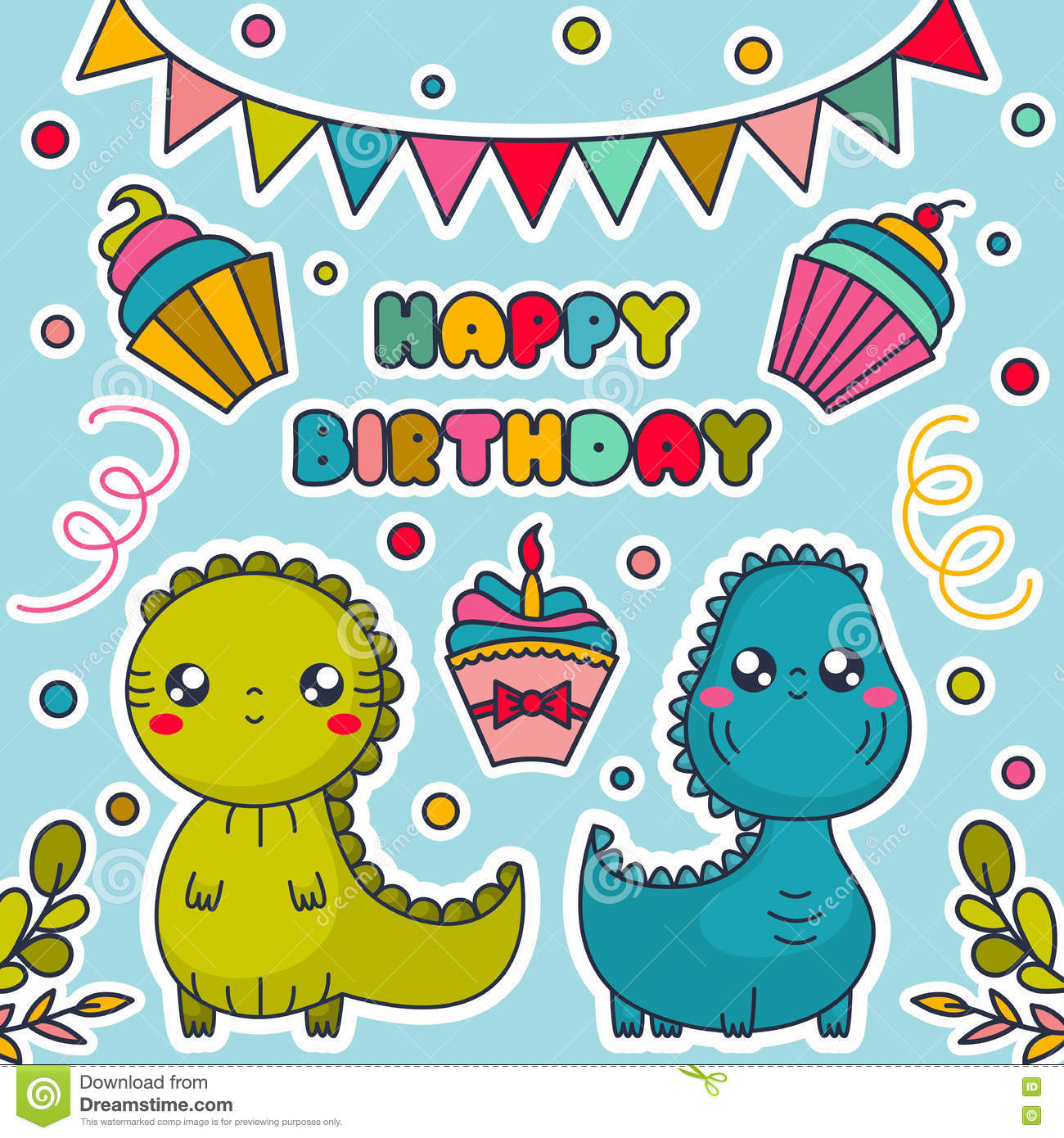Happy Birthday Card With Kawaii Dinosaurs Cakes Bunting Flags And Confetti