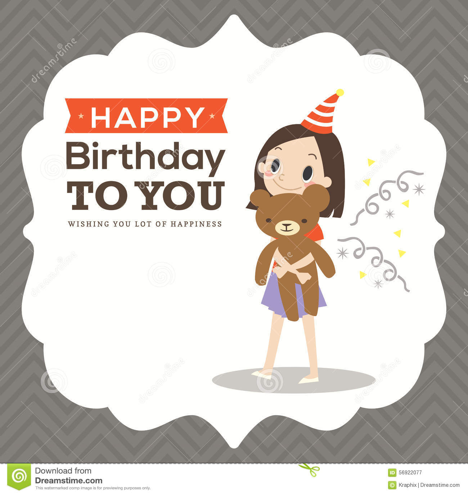 Happy Birthday Card With Kid Cartoon Vector Image 56922077 – Birthday Card for Kid