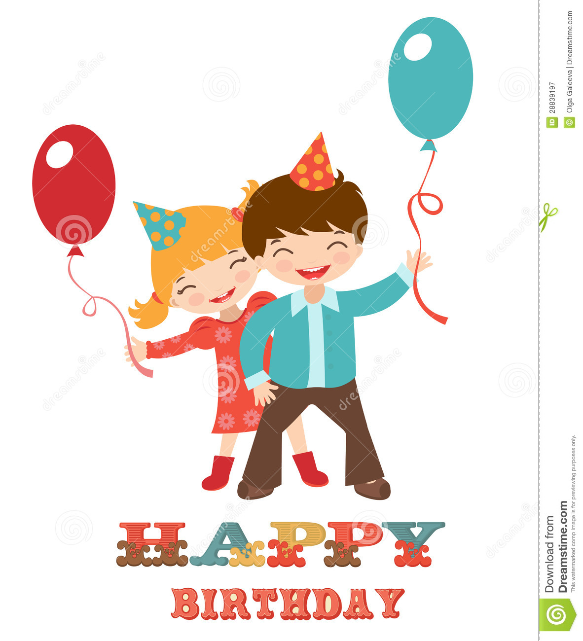 Happy Birthday Card With Kids Royalty Free Photography – Birthday Card Kids