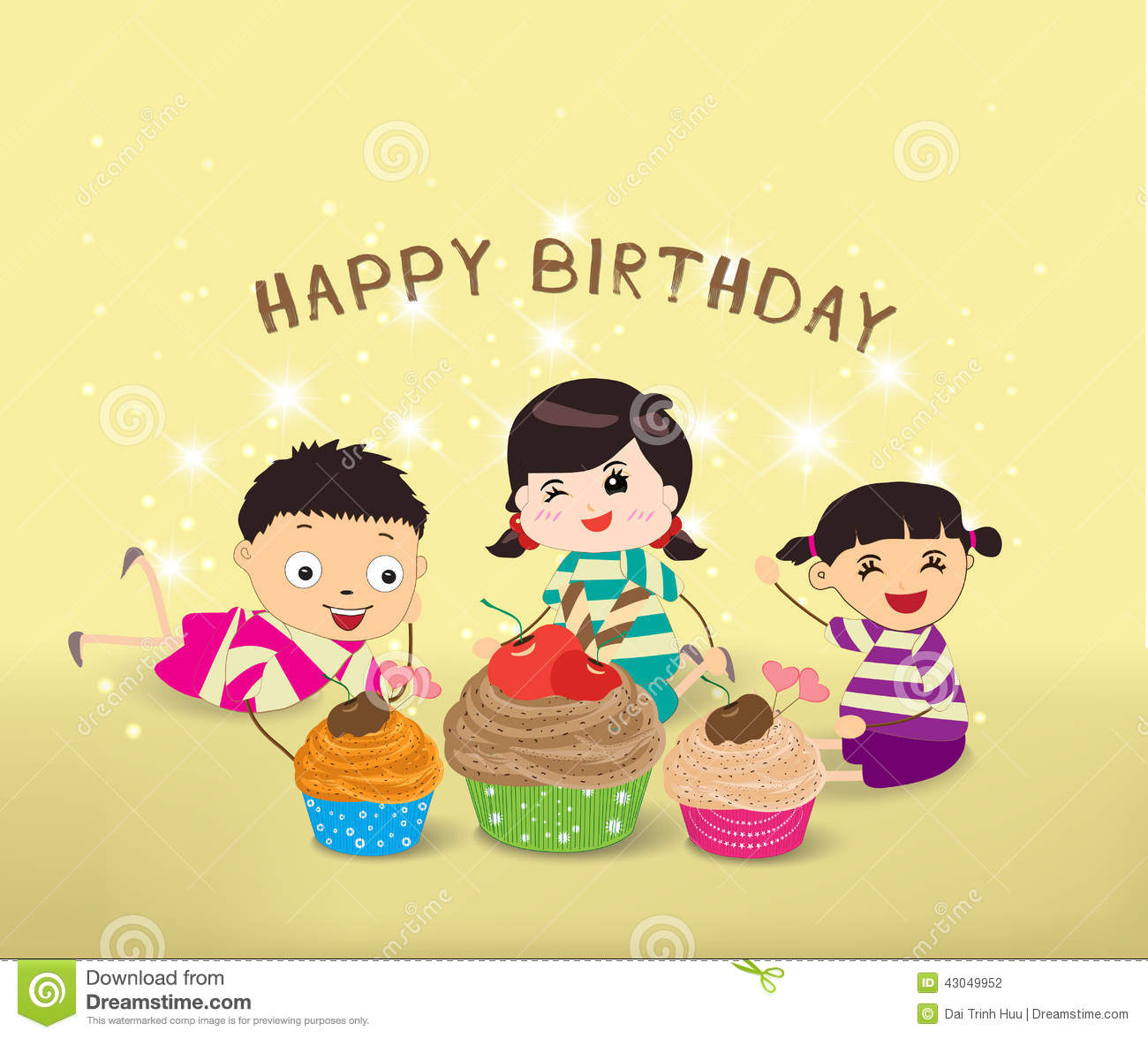 Happy Birthday Card With Kids And Cupcakes Vector Image – Happy Birthday Kids Cards