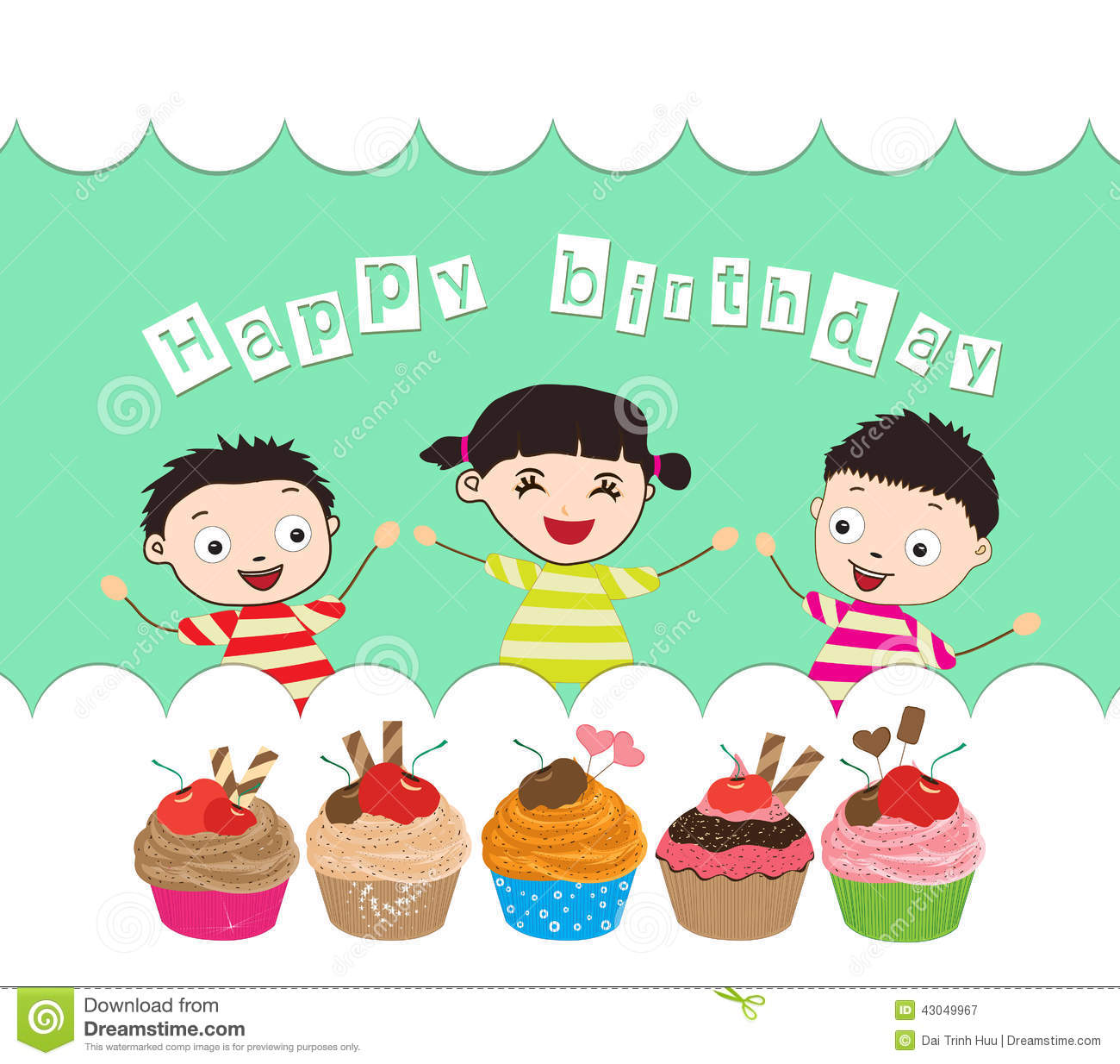 Happy Birthday Card With Kids And Cupcakes Vector Image – Birthday Card Kids