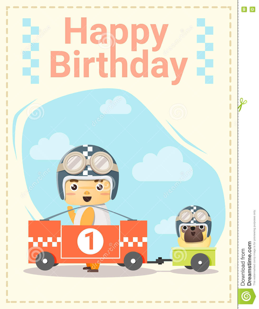 Happy Birthday Card With Little Boy And Friend Stock
