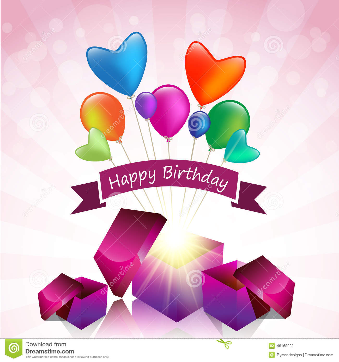 Happy Birthday Card With Magic Gift Box And Colored Balloon Stock