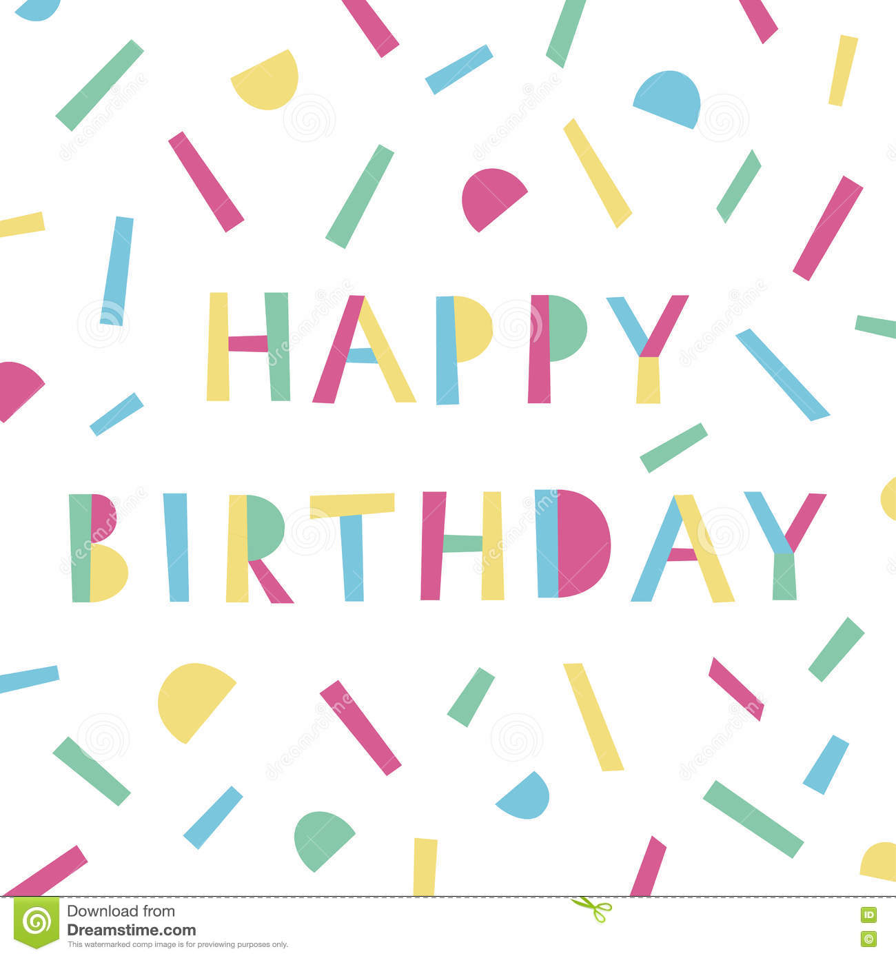Happy Birthday Card In Memphis Style. Modern Colorful Template For ...