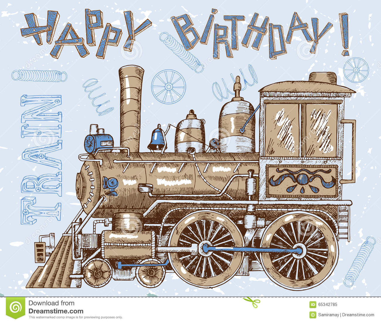 happy birthday card with old locomotive on blue