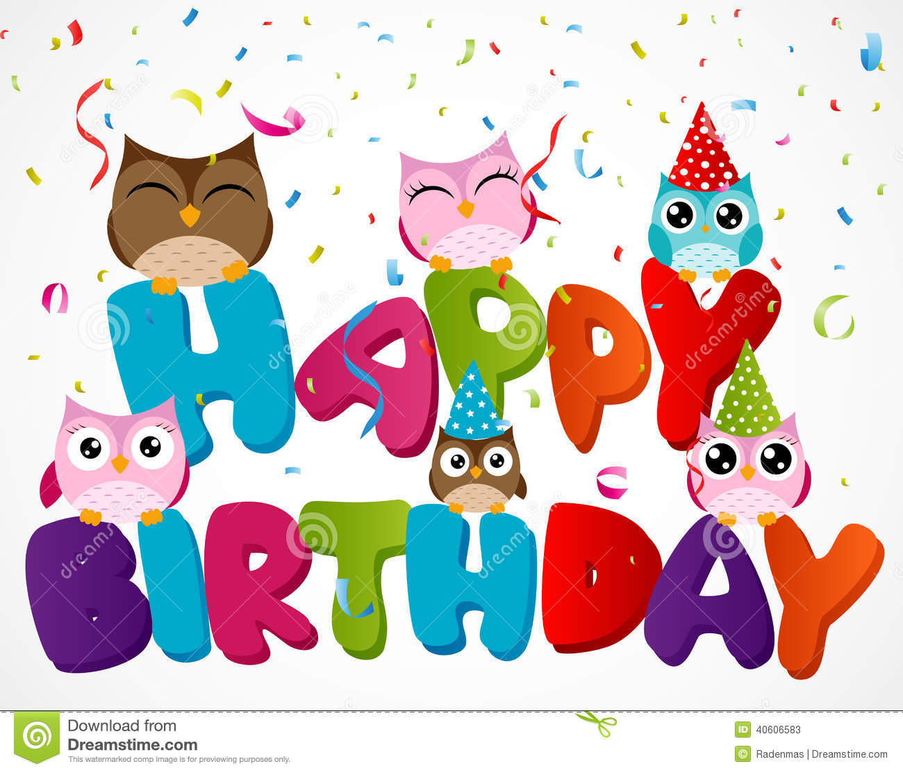 Happy Birthday Card With Owl Stock Vector - Illustration of festival, doodle: 40606583