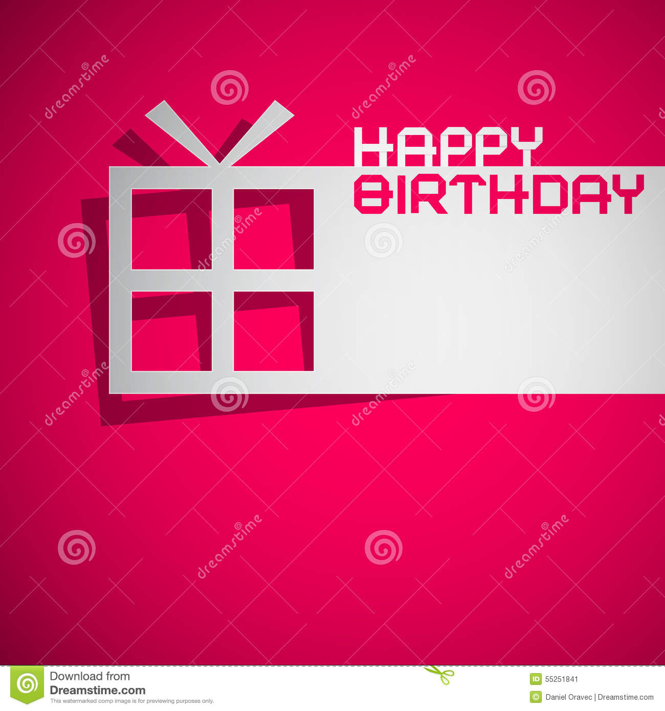 Happy Birthday Card With Paper Cut Gift Box