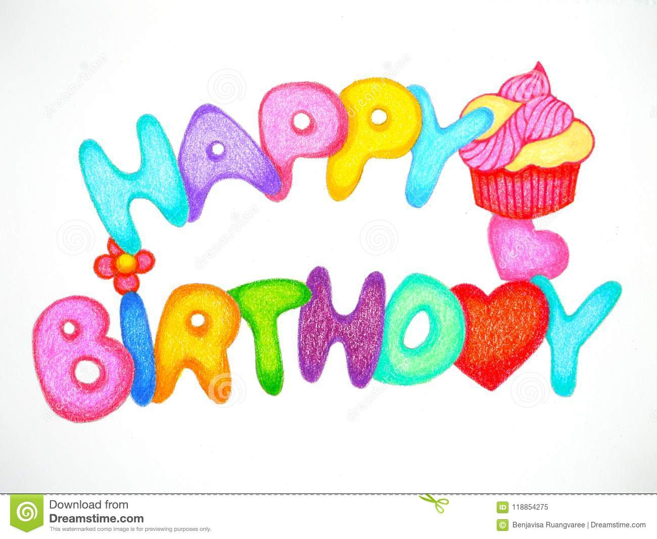 Happy Birthday Card Pencil Color Hand Drawing Illustration Design