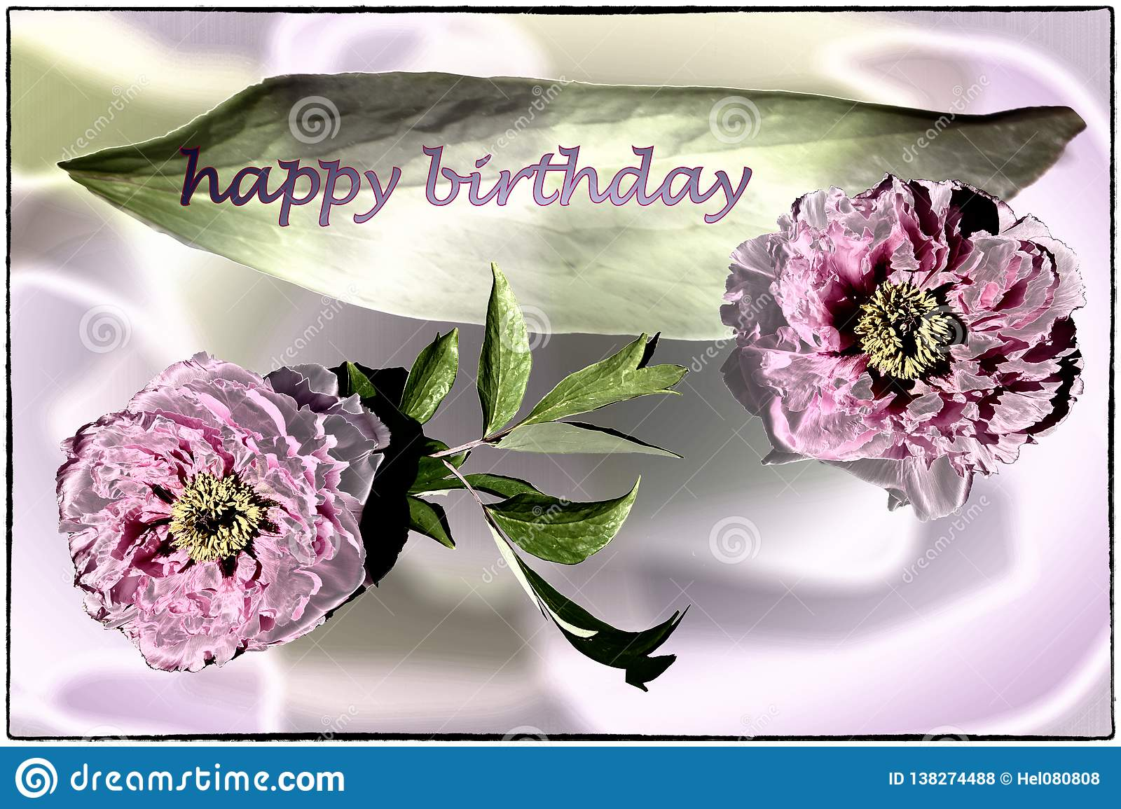 Happy Birthday card with peonies in lilac, pink and green
