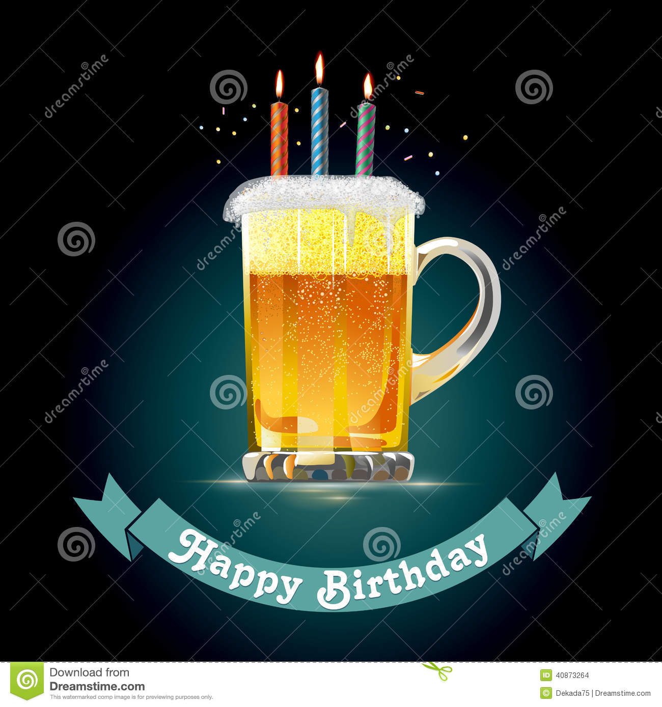 Happy Birthday Card For A Person Who Loves Beer Stock Vector