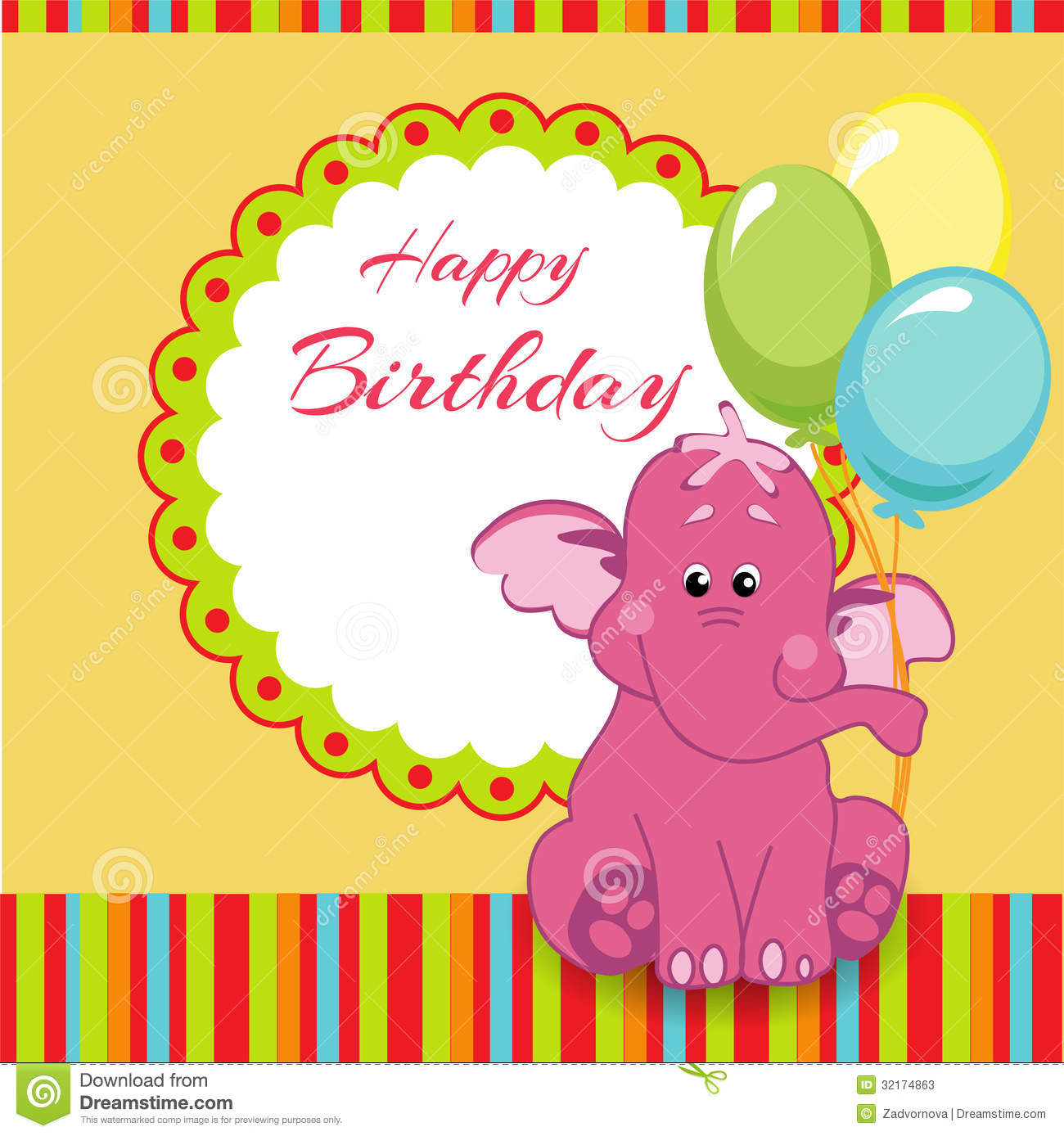 Happy Birthday Card With Pink Elephant Stock Photos