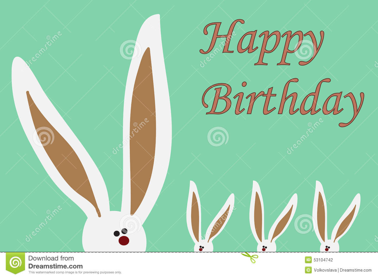 Happy Birthday Card With Rabbits