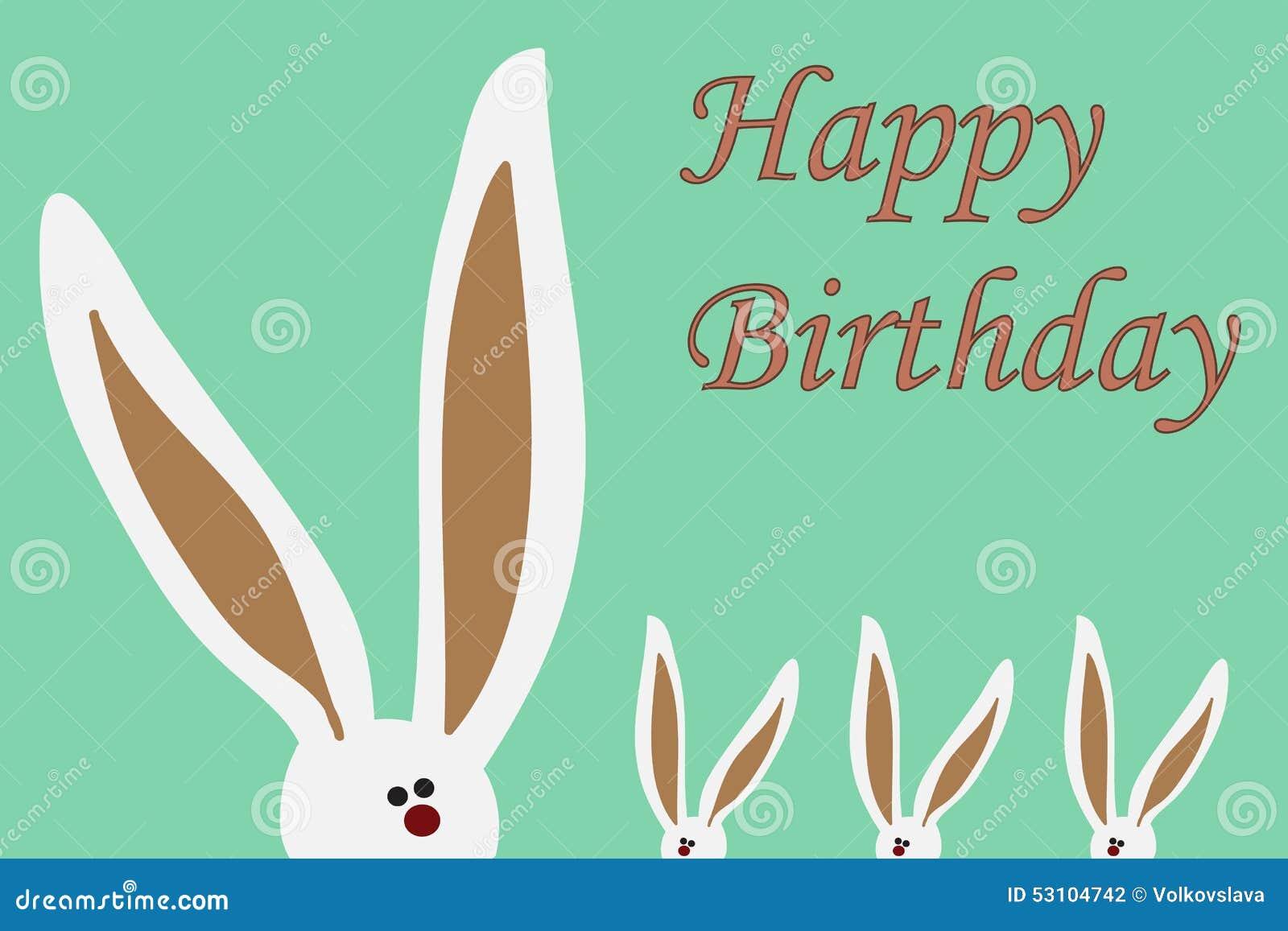 Happy Birthday Card With Rabbit Big Ears