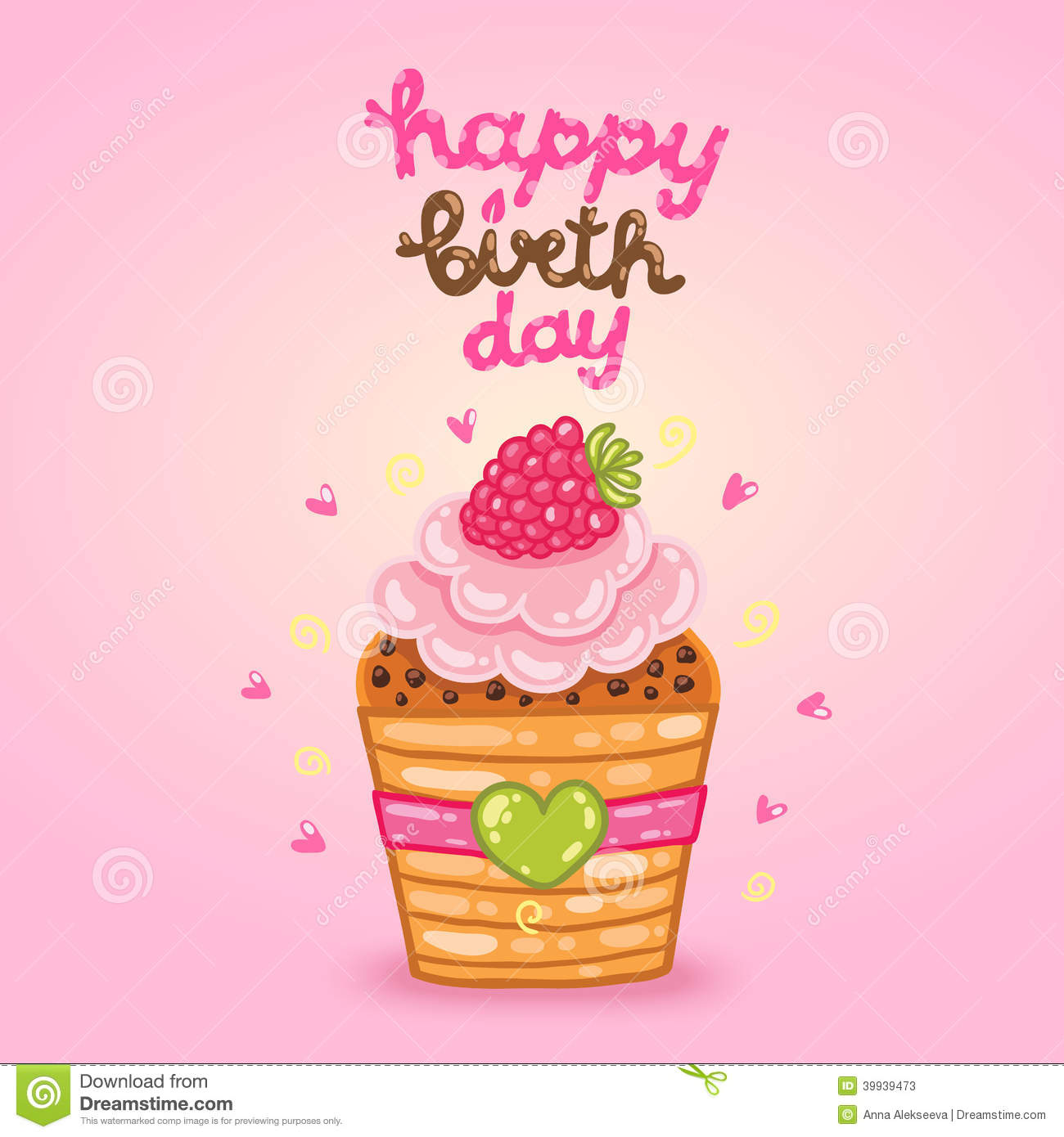 Happy Birthday Card With Raspberry Cupcake Stock Vector