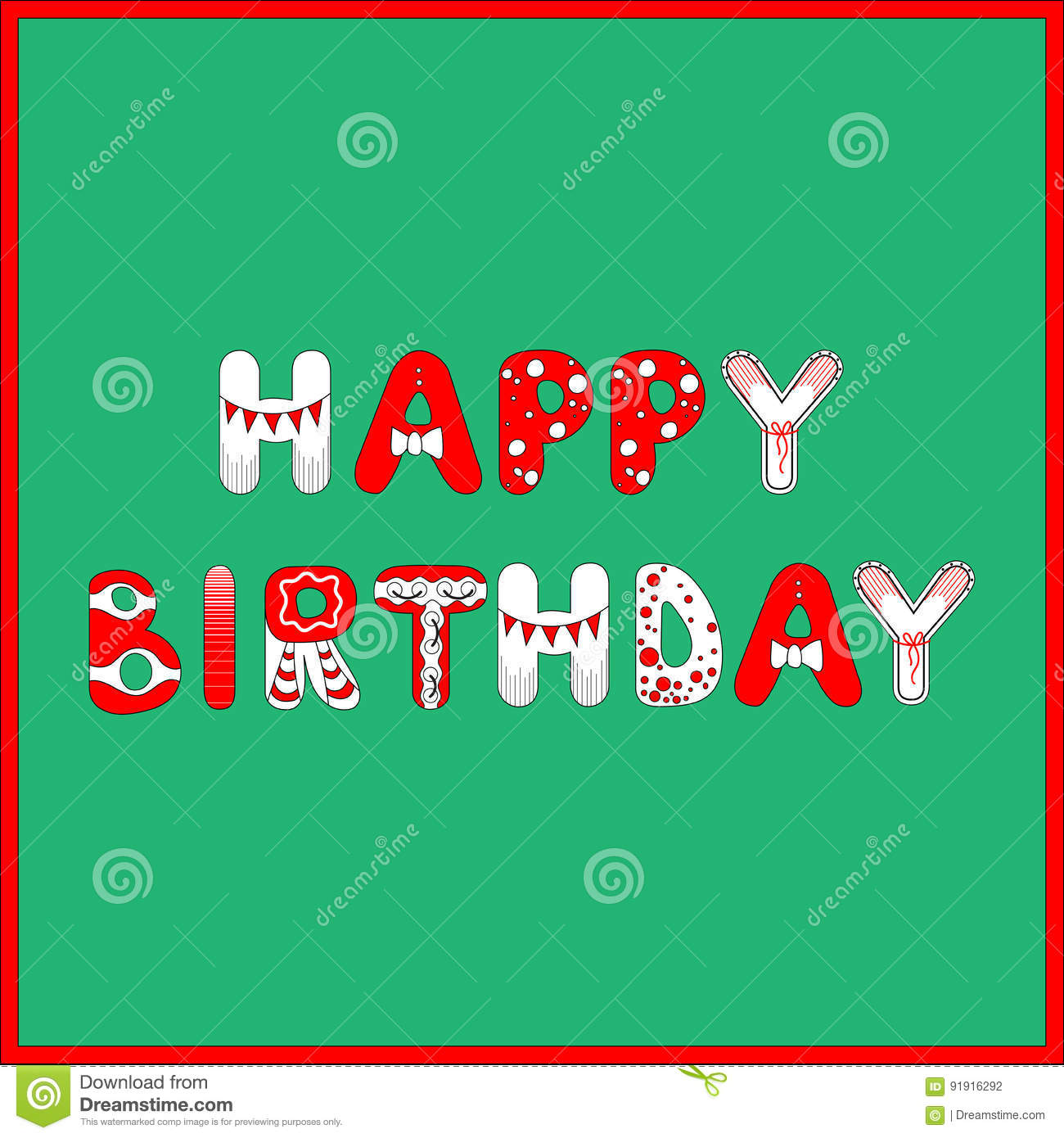 Happy Birthday Card In Red And White Colors On Green Background For
