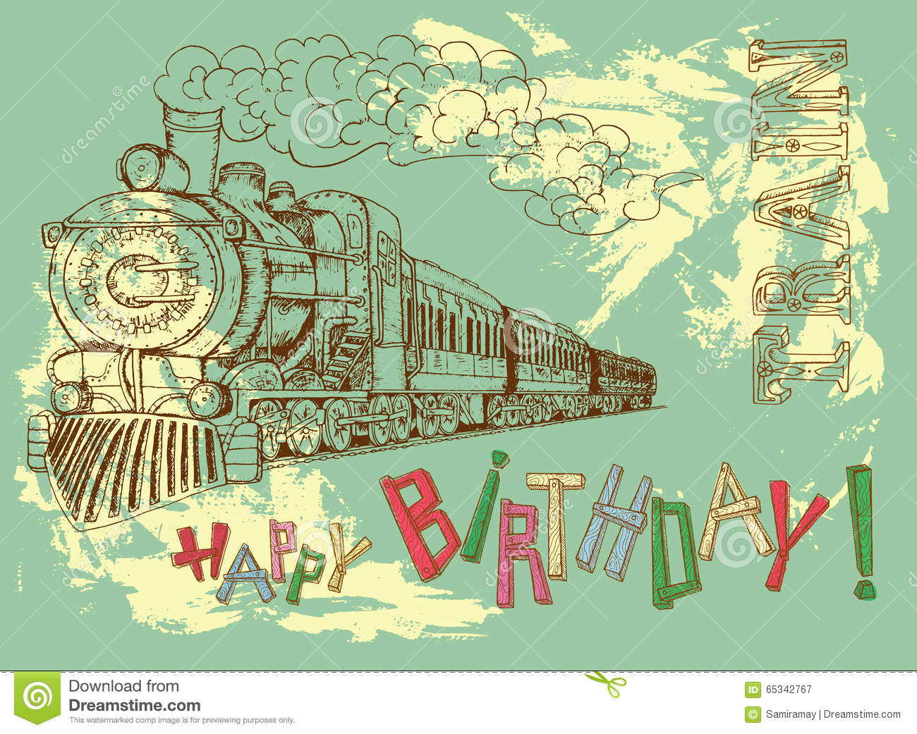 Happy Birthday Card With Retro Train Letters