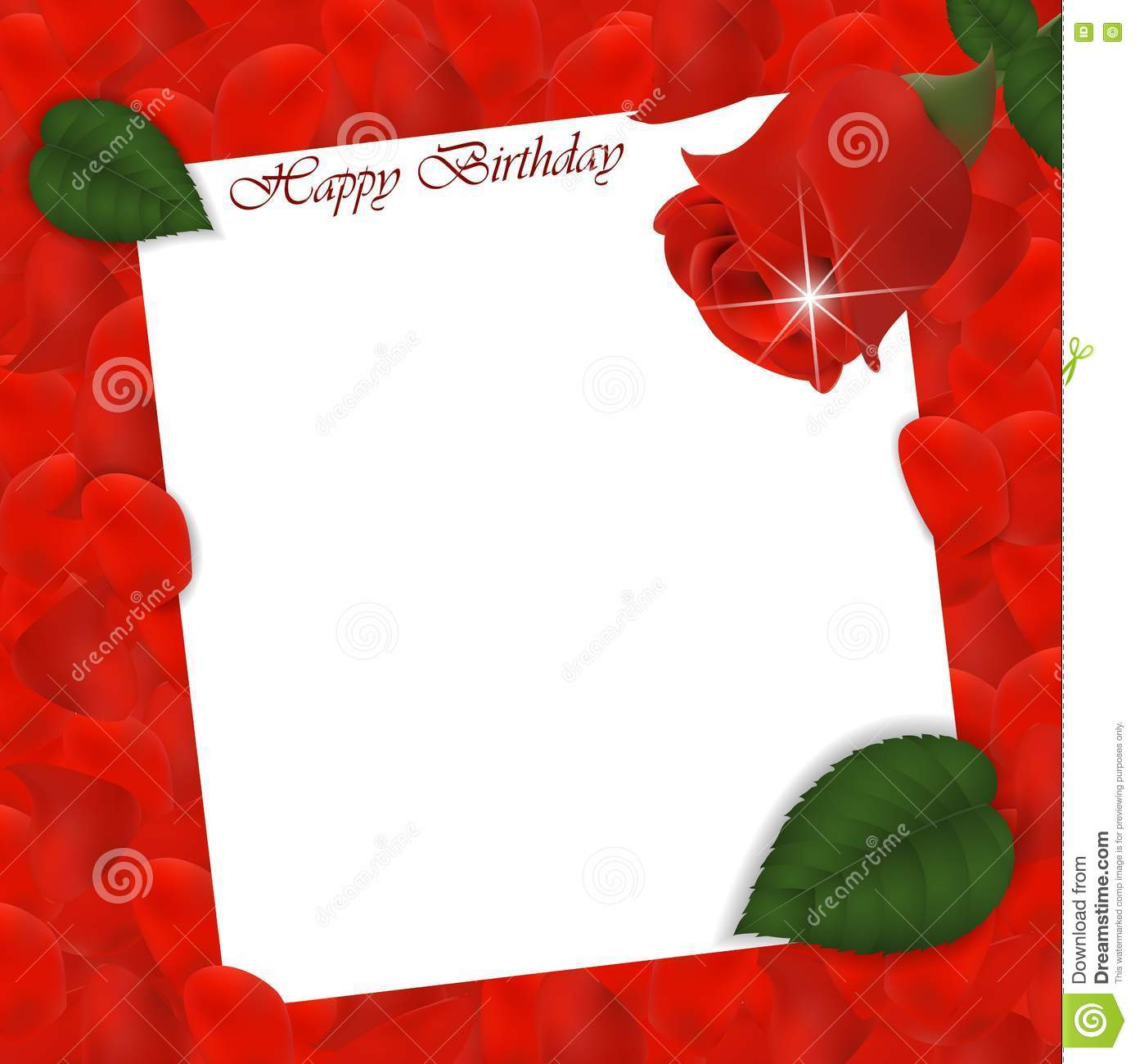 Happy Birthday Card With Roses Flower