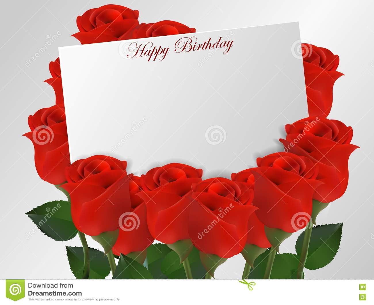 Happy Birthday Card With Roses Flower Vector Image 72898589 – Birthday Greetings with Roses