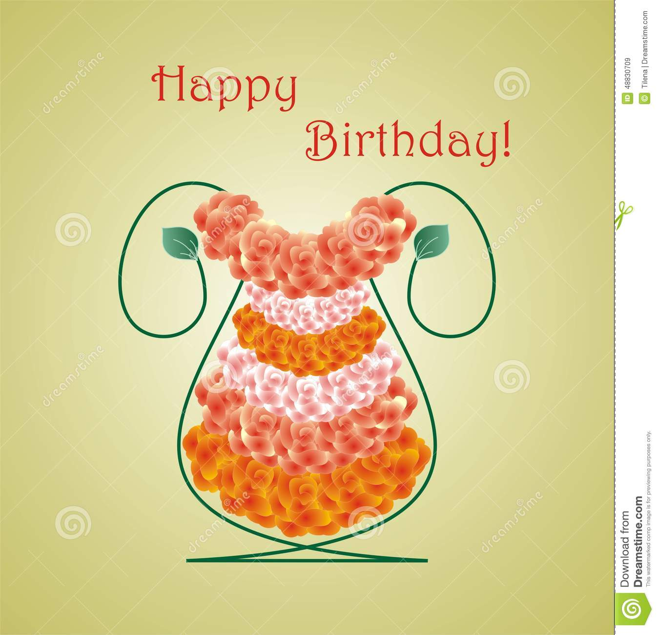 Happy Birthday Card With Roses Stock Vector Illustration Of