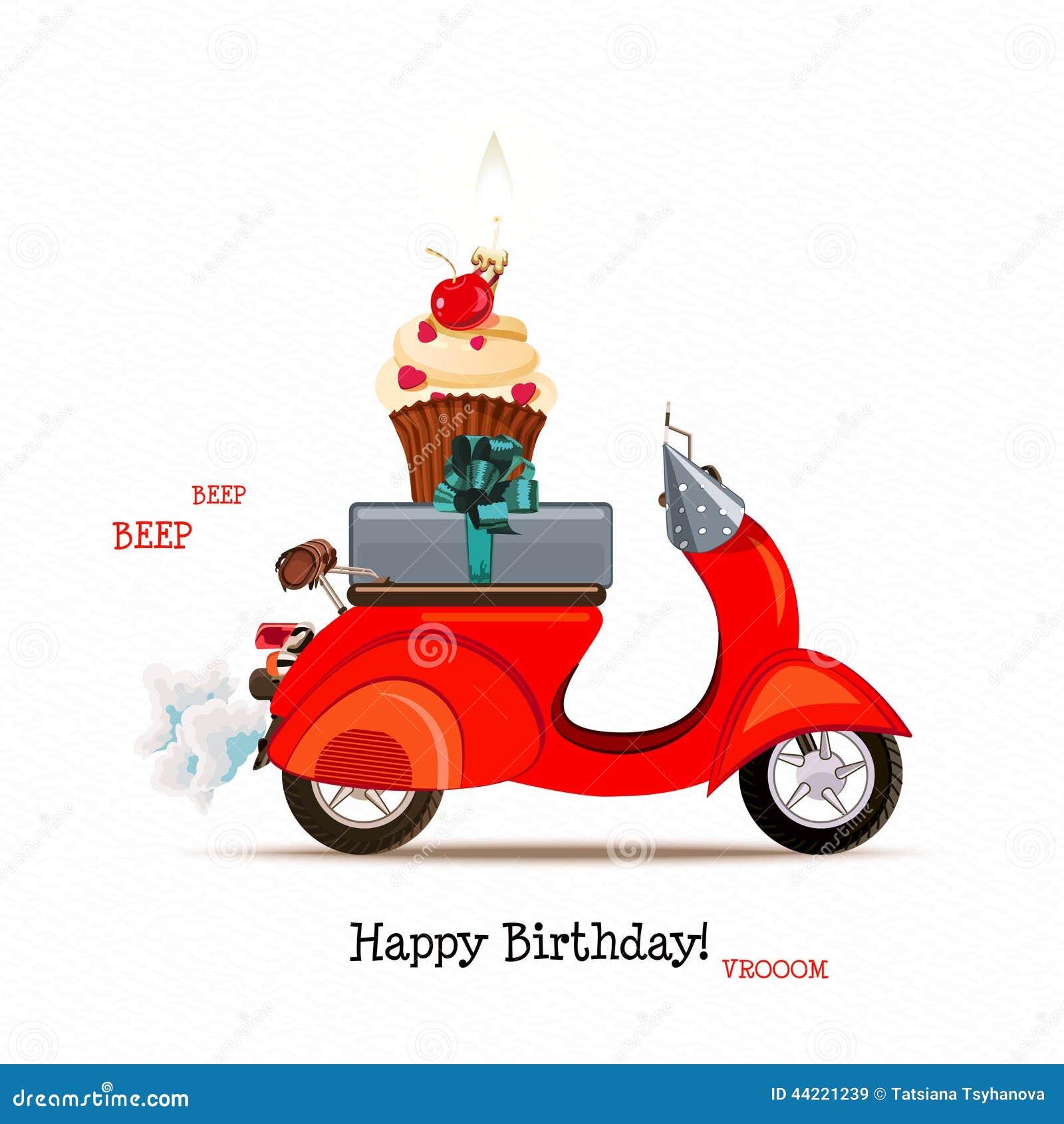 Vintage Motorcycle Birthday Cake