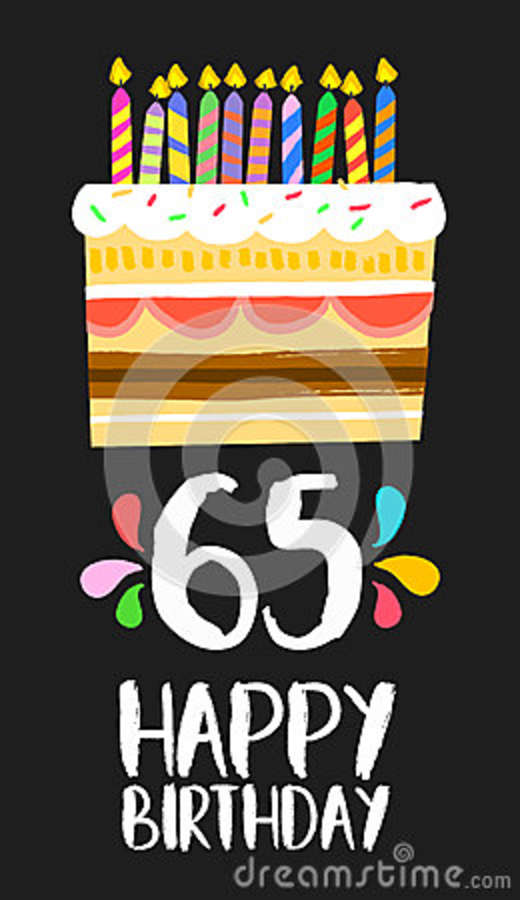Happy Birthday Number 65 Greeting Card For Sixty Five Years In Fun Art Style With Cake And Candles Anniversary Invitation Congratulations Or Celebration