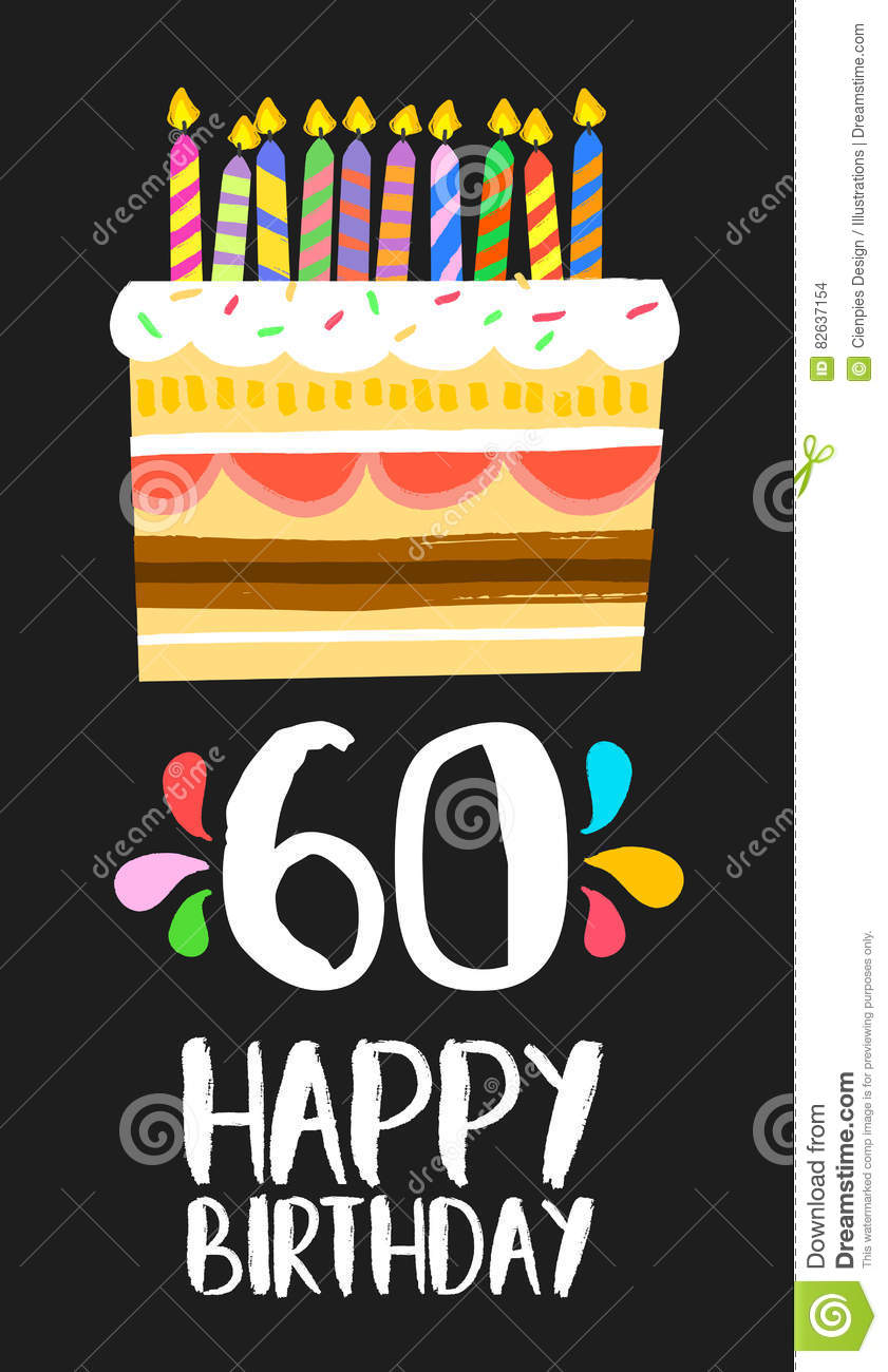 Happy Birthday Number 60 Greeting Card For Sixty Years In Fun Art Style With Cake And Candles Anniversary Invitation Congratulations Or Celebration