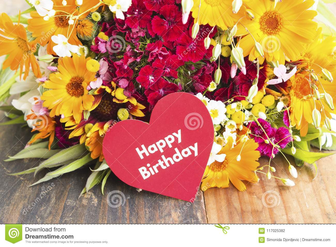 Happy Birthday Card With Spring Flowers Stock Photo Image Of Card
