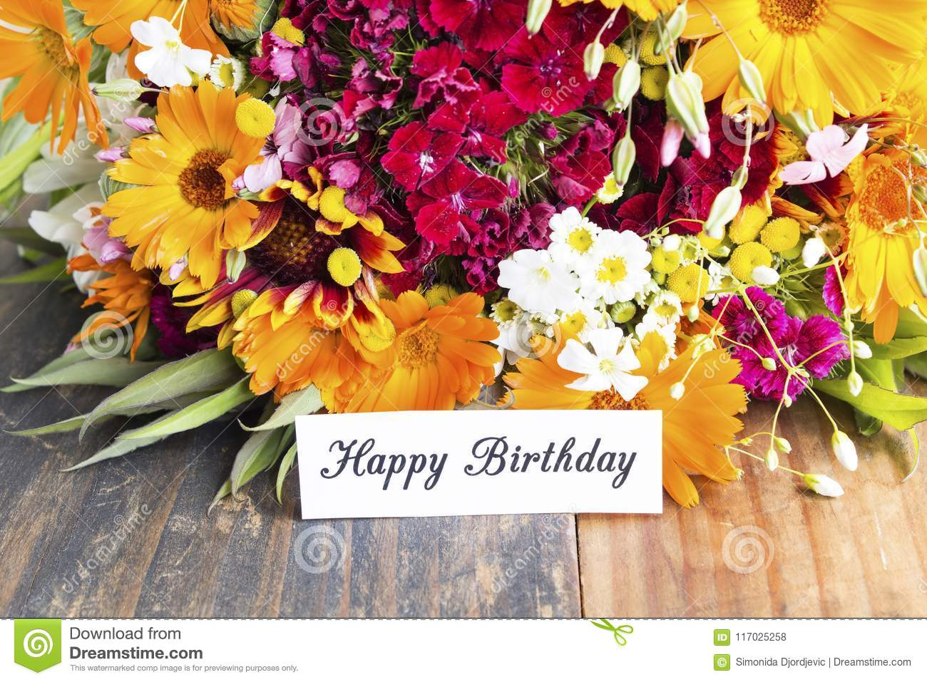 Happy Birthday Card With Spring Flowers Stock Photo Image Of