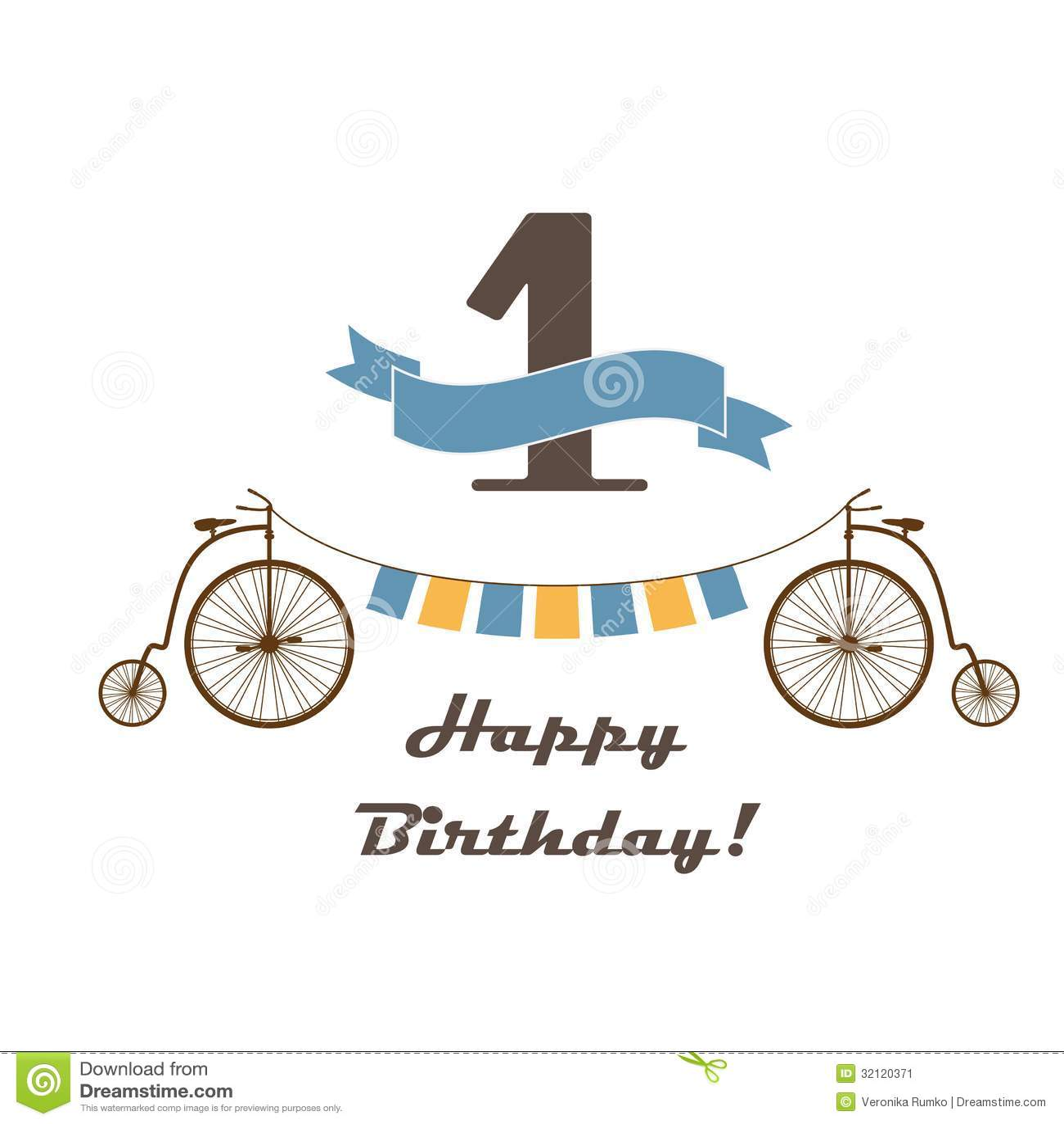 Happy Birthday Card For 1st Birthday Illustration Image – Happy 1st Birthday Card
