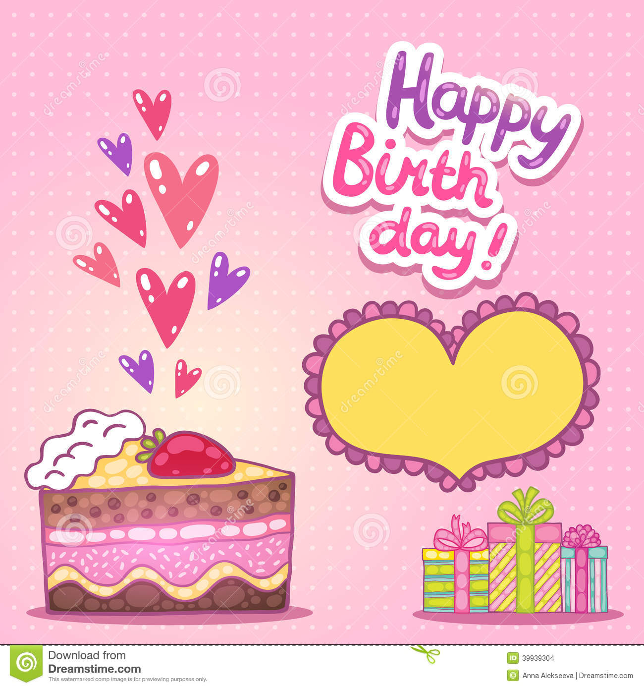 Happy Birthday Card With Strawberry Cake