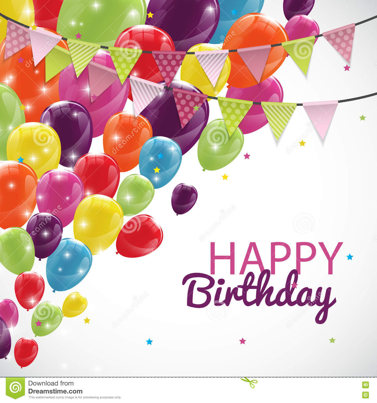 Happy Birthday Card Template With Balloons And Flags Vector Illu – Happy Birthday Cards Templates