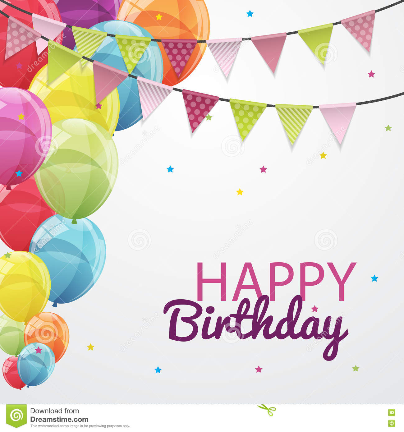 Happy Birthday Card Template With Balloons And Flags
