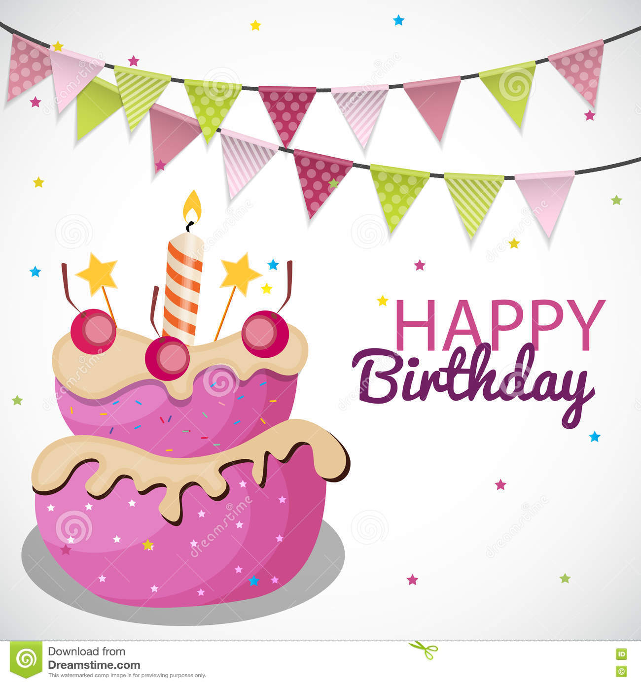 Happy Birthday Card Template With Balloons Ribbon And Candle Vector Illustration
