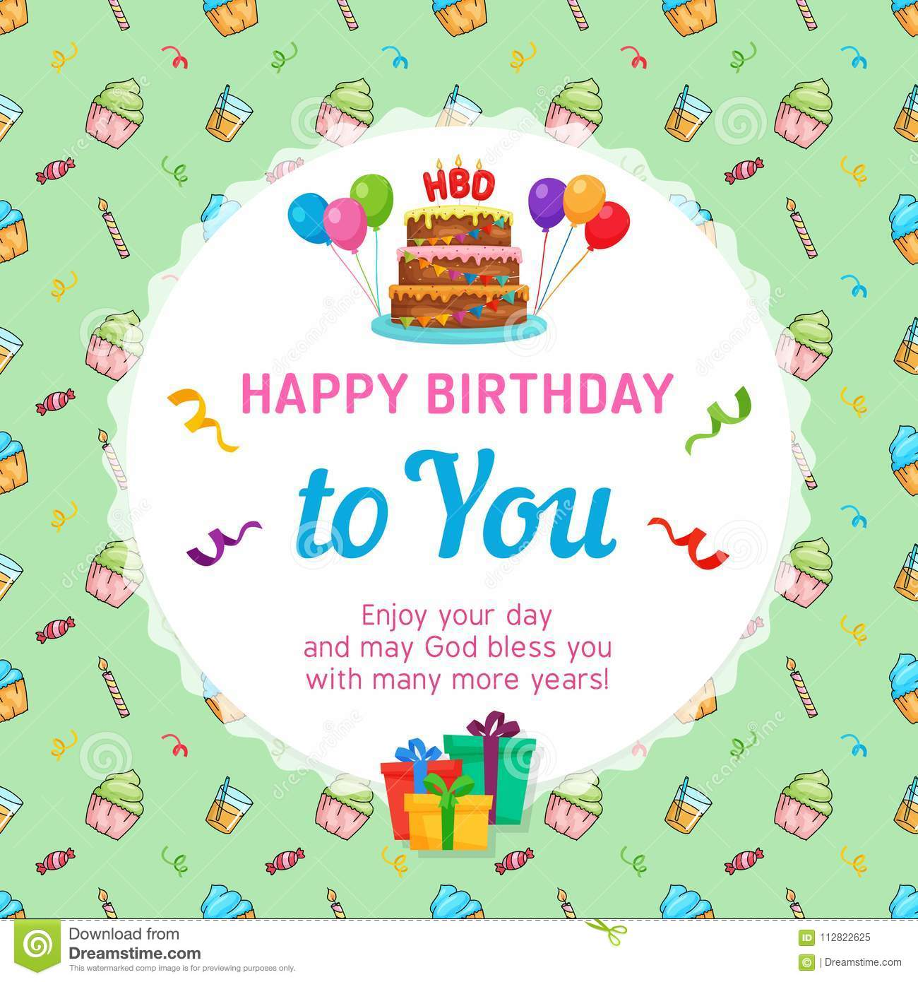 happy birthday card template with birthday cake and party seamless