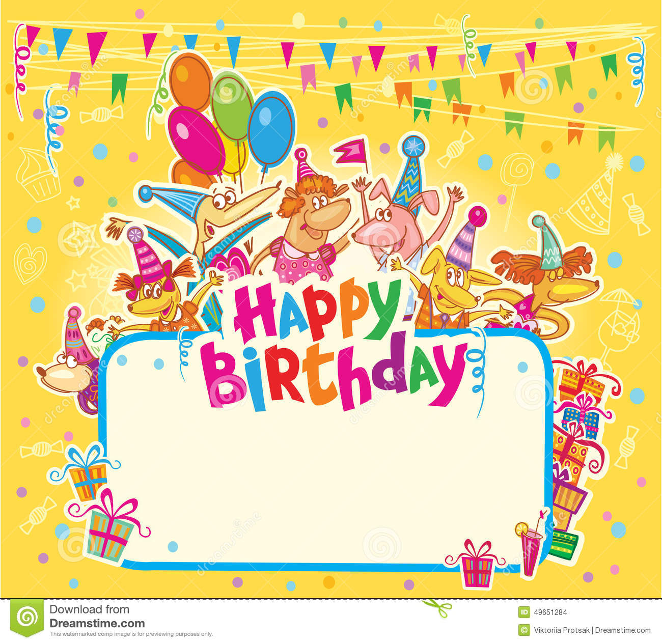 Happy Birthday Card Stock Illustration Illustration Of Cute 49651284