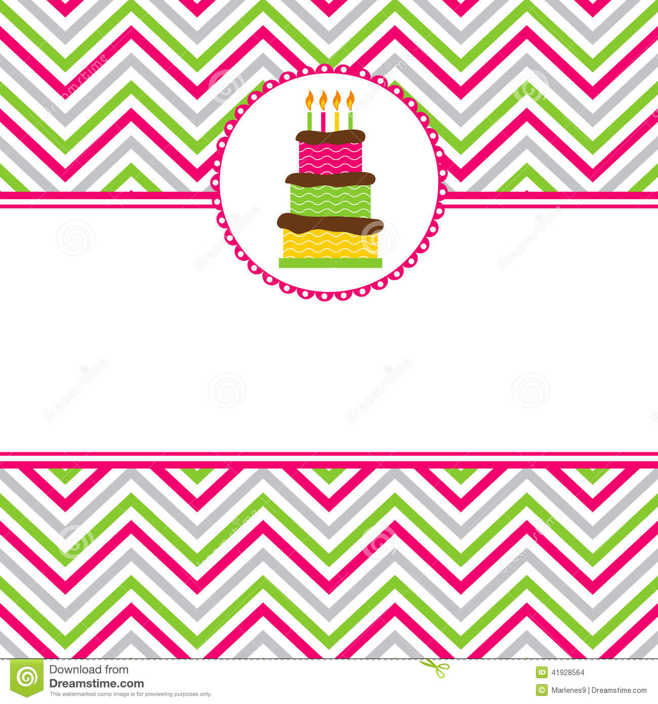 Happy Birthday Card Template With Chevron Background