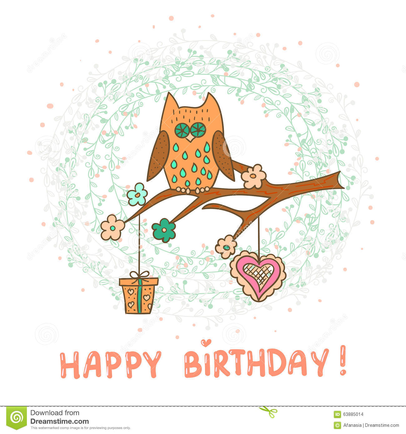Happy Birthday Card Template Cute Cartoon Owl Vector – Free Downloadable Birthday Cards Templates