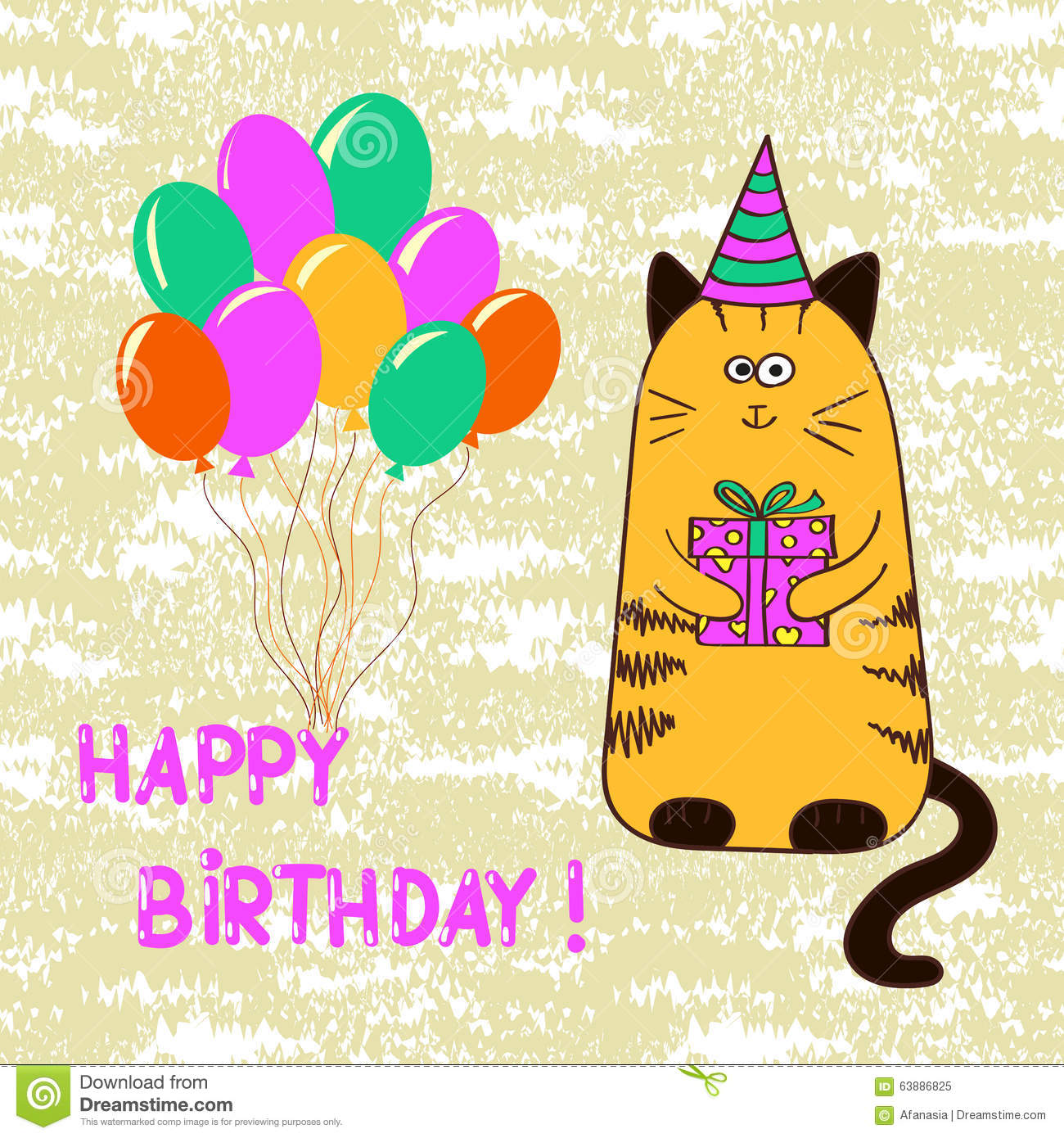 Happy Birthday Card Template With Cute Cat