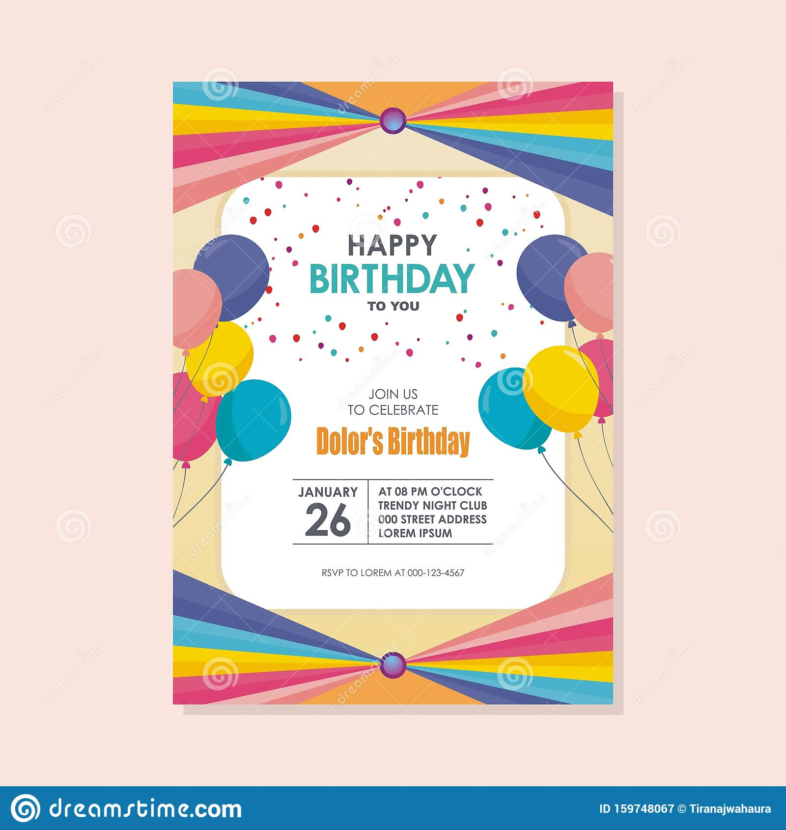 Happy Birthday Card Template Design With Trendy And Cute Design Stock Vector Illustration Of Dots Border 159748067
