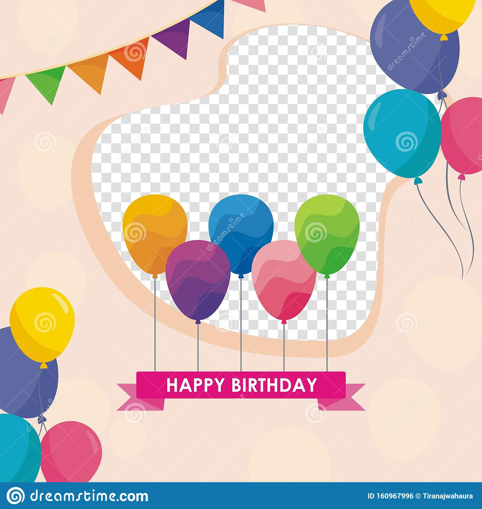 Happy Birthday Card Template Design With Trendy And Cute Design